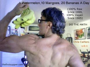 fruitarian bodybuilding, raw long island muscle, chris califano raw new york, vegan protein myth